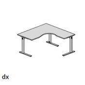 Scrivania Bek: Variante 160x160 dx