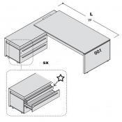 Scrivania Eos plus con allungo: Variante L.220xp.100-195(sx)